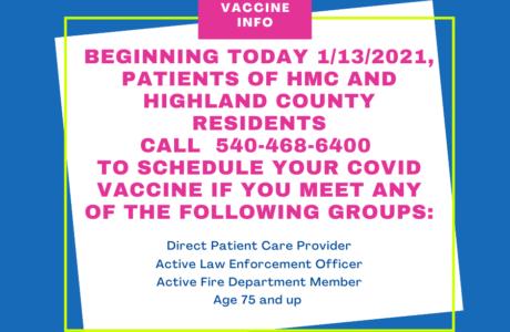 Call to schedule COVID19 Vaccine