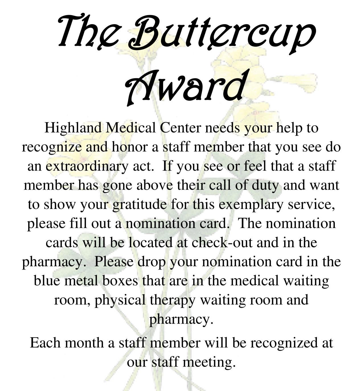 The Buttercup Award Flyer